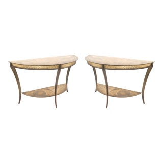 Pair of American Mid-Century Demilune Console Tables For Sale