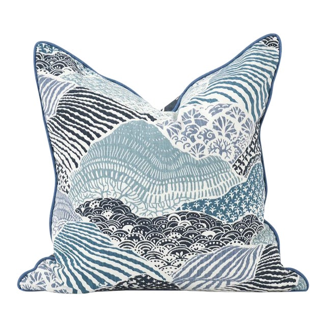"""Kenneth Ludwig Windsor Park Ocean 20"""" Square Pillow For Sale"""