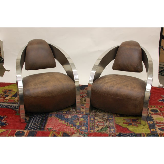 Timothy Oulton Aviator Style Chairs - Pair - Image 2 of 8