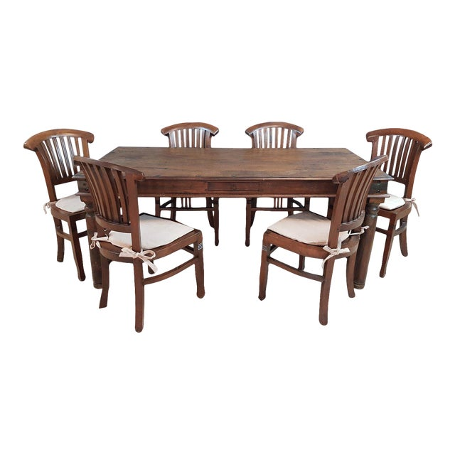 Vintage Wood Colonial Dining Set Table and 6 Chairs For Sale