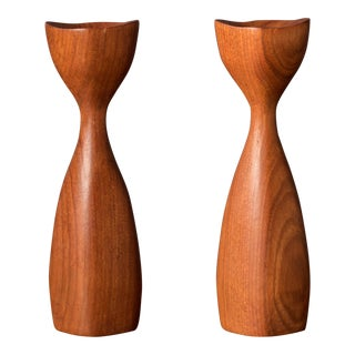 Danish Sculptural Teak Candleholders - a Pair For Sale