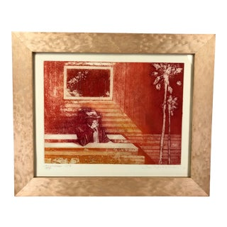 1978 Colorful Etching Memories Signed For Sale