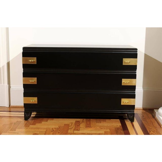 Art Deco Gorgeous Restored Three-Drawer Chest by Widdicomb in Black Lacquer For Sale - Image 3 of 11