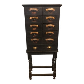 French 19th C. 11 Drawer Painted Apothecary Chest on Stand For Sale