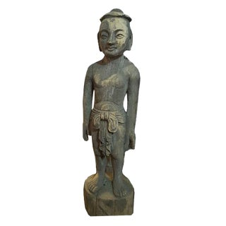 Late 19th Century Asian Antique Acupuncture Man Wooden Statue 2