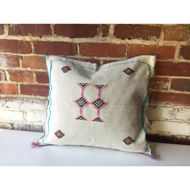 White & Pink Cactus Silk Pillow Cover - Image 2 of 6