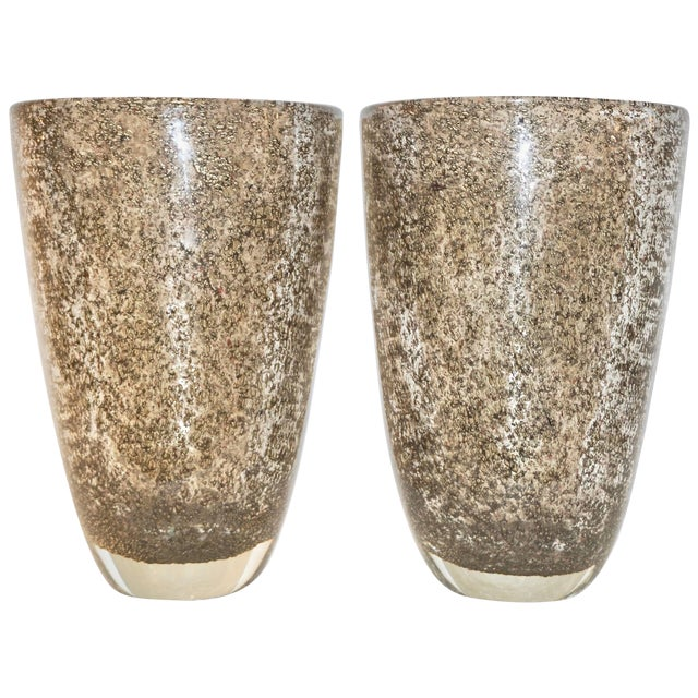 Alberto Dona Italian Bronze Color Murano Glass Vases With Brass Dust - a Pair For Sale