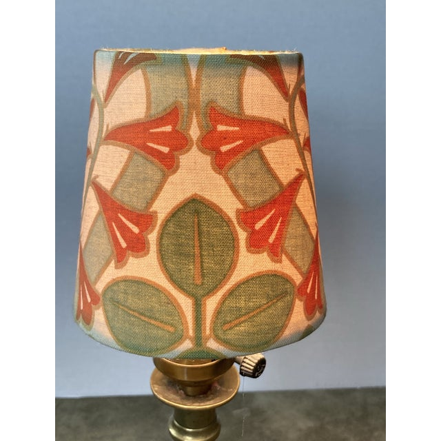 """A clip top chandelier shade handmade from a Arts & Crafts era fabric. Measurements: top 3"""" side 4"""" bottom 4"""" :"""