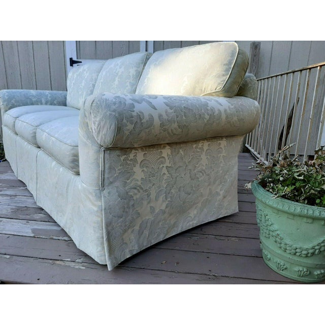 2010s Formal Custom Built Blue on Ivory Silky Damask Upholstered Sofa For Sale - Image 5 of 13