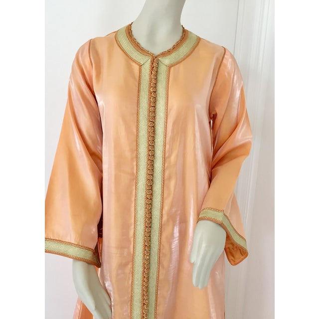 Islamic Moroccan Vintage Caftan 1970s Kaftan Maxi Dress Orange With Floral Embroideries For Sale - Image 3 of 12