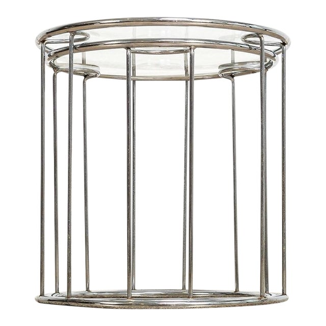 Mid Century Baughman Style Chrome & Glass Nesting Side Tables For Sale