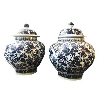 LG Blue & White Floral Ginger Jars - A Pair For Sale