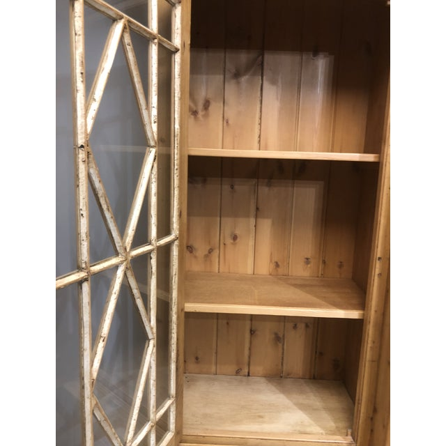 Chippendale Solid Knotty Pine and Glass Breakfront Bookcase For Sale - Image 4 of 10