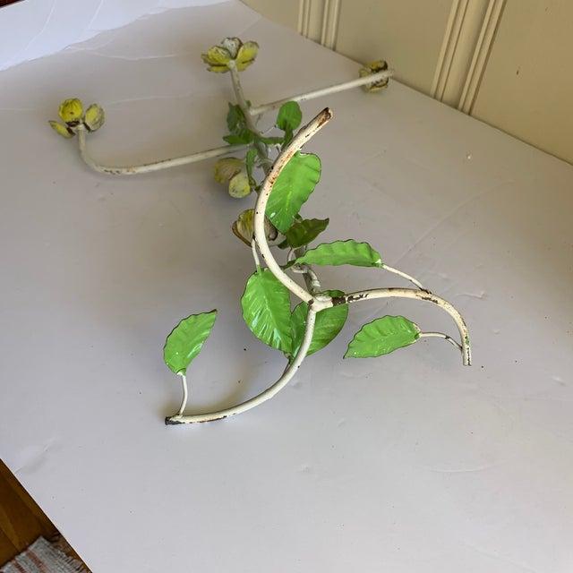 Green Vintage Tole Floral Metal Hand Towel Holder For Sale - Image 8 of 10