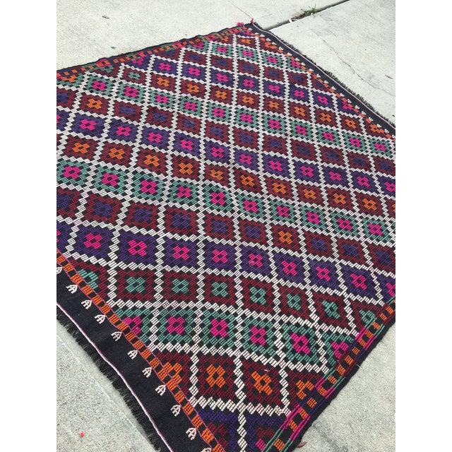Vintage Anatolian Kilim Tribal Embroidered Cecim Rug - 5′10″ × 6′1″ For Sale - Image 4 of 9