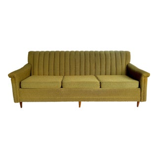 Mid-Century Danish Modern Green and Gold Tufted Sofa