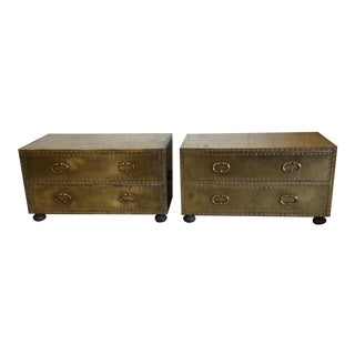 Sarreid Brass Chests Trunks- A Pair For Sale