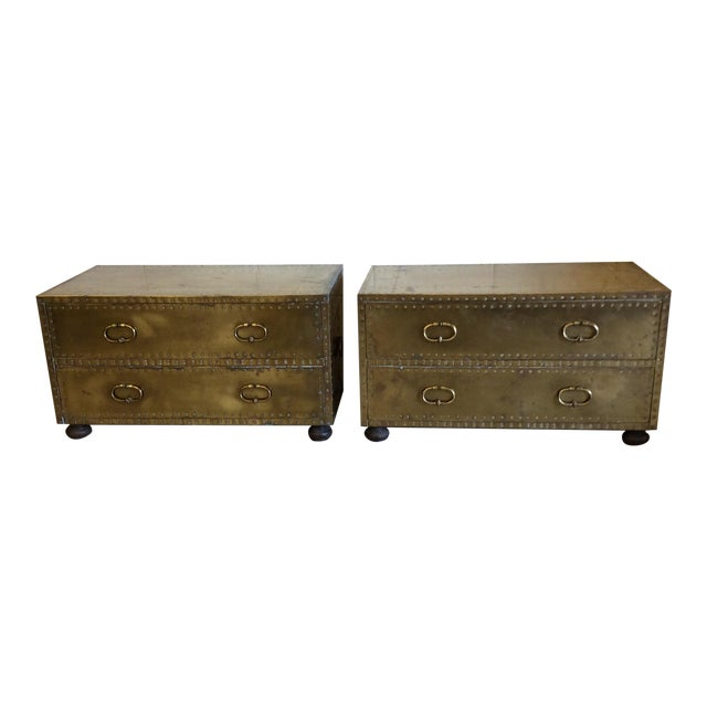 Sarreid Brass Chests Trunks- A Pair - Image 1 of 11