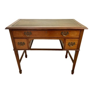 Vintage Georgian Walnut Writing Table With Tooled Leather Top For Sale