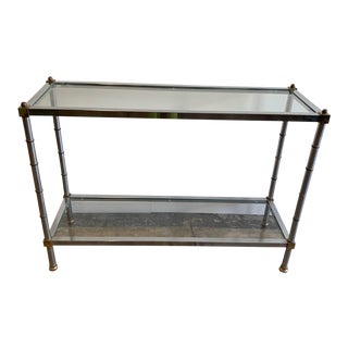 Vintage Mid-Century Modern Glass & Metal Console Table For Sale