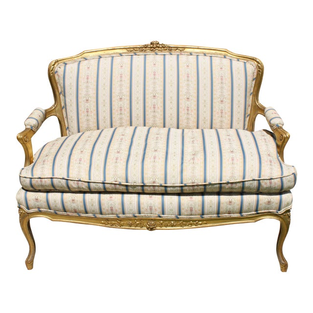 Early 20th Century French Louis XV Style Giltwood Settee - Image 1 of 11