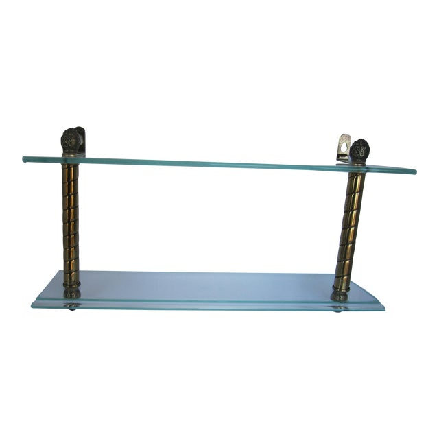 Vintage Glass and Brass Shelf For Sale