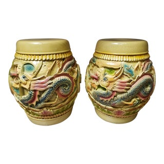 Mid 20th Century Chinese Lacquered Wood Dragon/Phoenix Motif Rice Barrels - a Pair For Sale