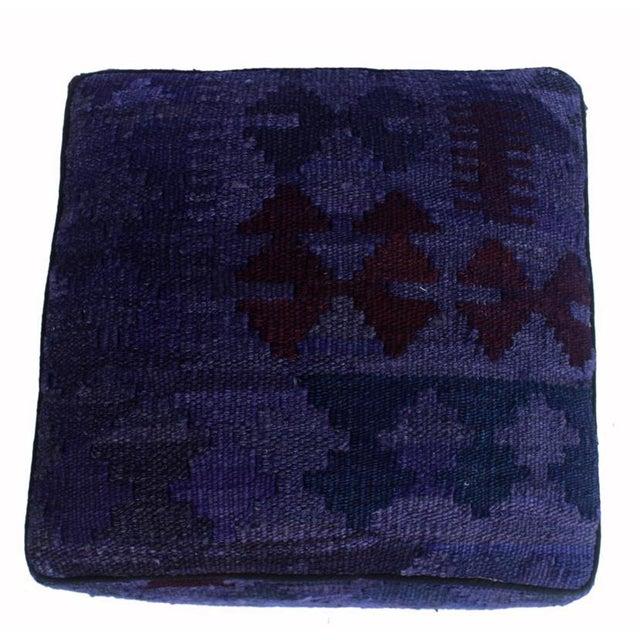 Arshs Demetra Purple/Drk. Gray Kilim Upholstered Handmade Ottoman For Sale - Image 4 of 8
