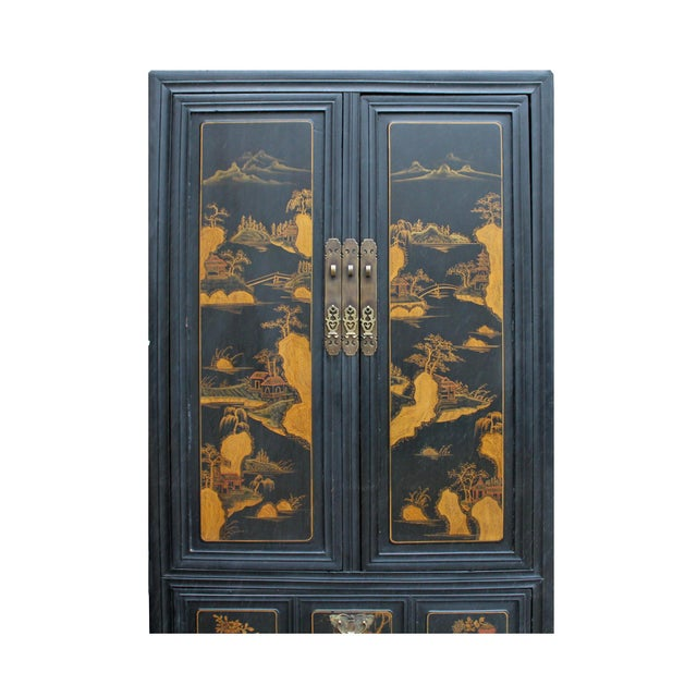Chinese Fujian Golden Mountian Water Graphic Tall Armoire Cabinet For Sale - Image 4 of 10