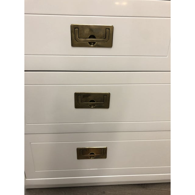 Wood Pair of Campaign Style Chest by Henredon Home Furniture For Sale - Image 7 of 9