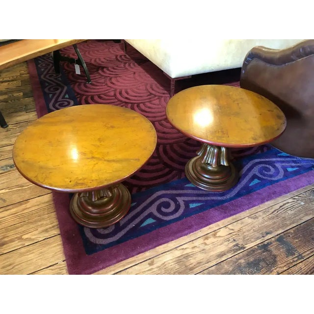 Great looking round end tables in a perfect 22 diameter size, having a wonderful gilded patina with warm red paint...
