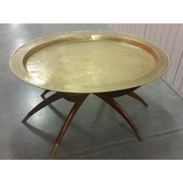 Mid-Century Brass Top Moroccan Style Coffee Table For Sale - Image 4 of 11