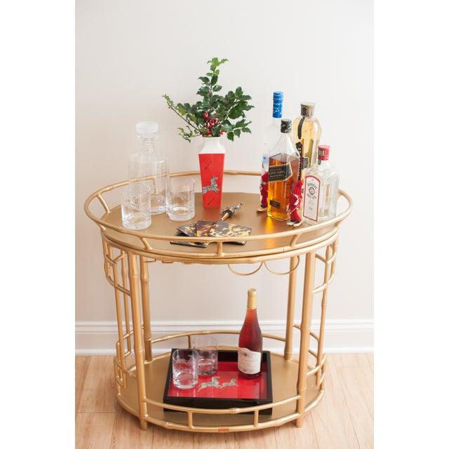 Hollywood Regency Gold Bar Cart - Image 2 of 6