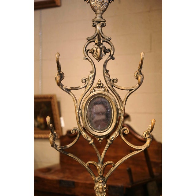 19th Century French Painted and Gilt Cast Iron Hall Stand Signed Corneau Freres For Sale - Image 4 of 10