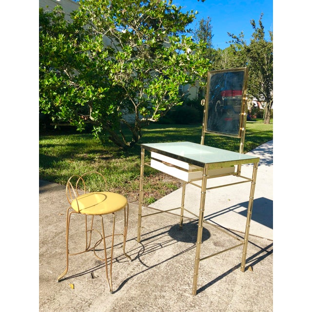George Koch Brass Bamboo Vanity With Stool For Sale - Image 9 of 9