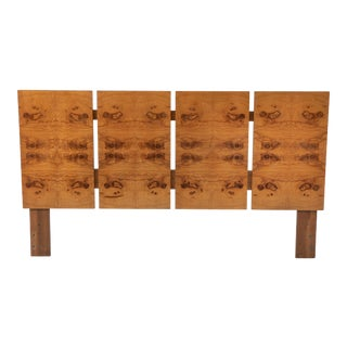 Mid Century Modern Burl Queen Headboard Roland Carter for Lane Alpha Collection For Sale