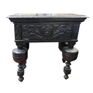 Antique Jacobean Carved Oak Hall Table For Sale