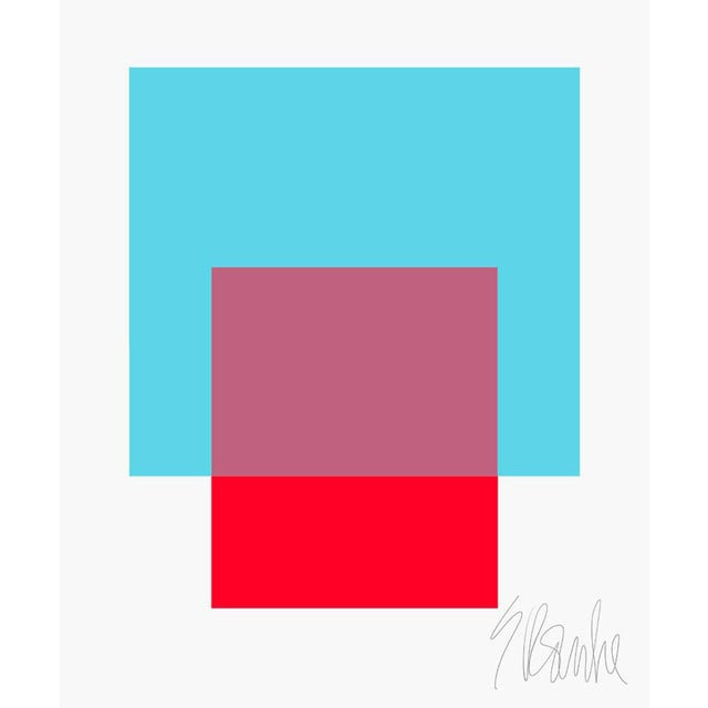 "The Interaction of Turquoise and Red Fine Art Print 25"" X 30"" by Liz Roache For Sale"