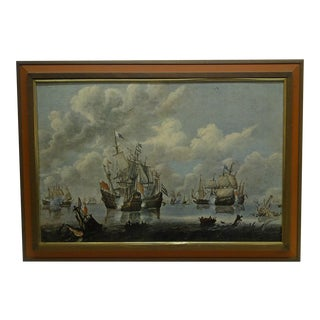 """Battling Ships"" Framed Print on Board For Sale"