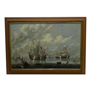 """Battling Ships"" Framed Print on Board"