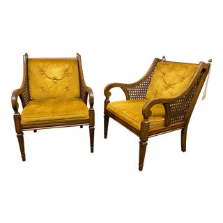 1970s Vintage Statesville Chair Company French Country Scroll Arm Chairs- a Pair For Sale