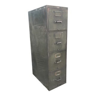 1940s Industrial Army Green Steel File Cabinet For Sale