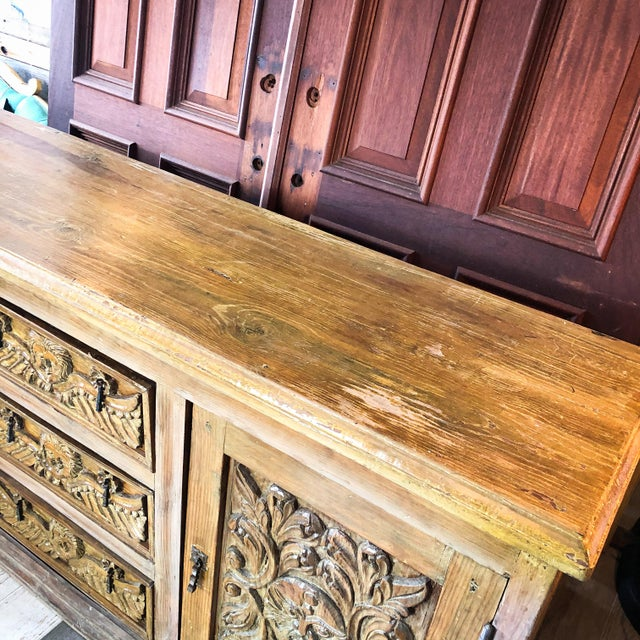 Wood Antique Mexican Hand Carved Wood Sideboard With Cherubs and Green Man Motif For Sale - Image 7 of 11