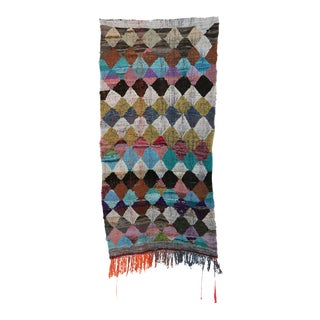 "Moroccan Kilim Boucherouite Rug- 3'10"" X 7'3"" For Sale"