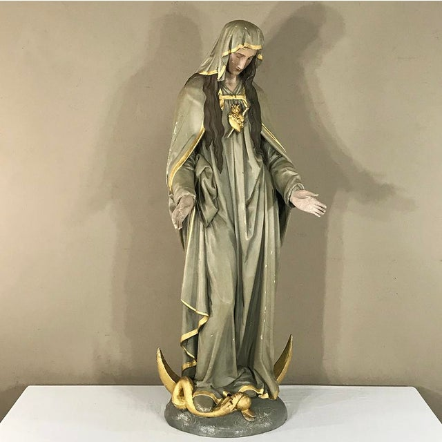 Paint 19th Century Hand-Painted Polychrome Madonna For Sale - Image 7 of 12