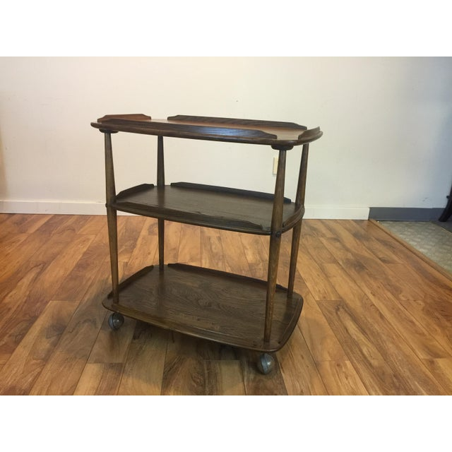 Mid-Century Solid Wood Bar Cart For Sale - Image 11 of 11