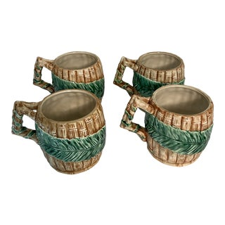 1989 Fitz & Floyd Fern Grotto Ceramic Tankard Mugs - Set of 4 For Sale