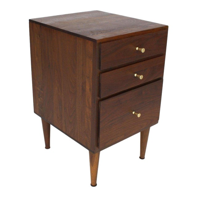 Solid Oiled Walnut Brass McCobb Pulls Three-Drawer Stand End Table For Sale