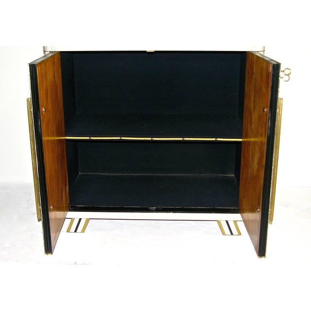1970s 1970s Italian Art Deco Gold Black and White Cabinets or Sideboards - a Pair For Sale - Image 5 of 11
