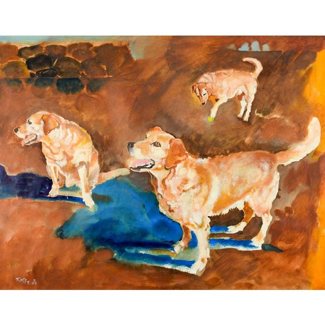 1980s Impressionist Yellow Lab Dog Study Painting by William Kolbe For Sale - Image 4 of 4